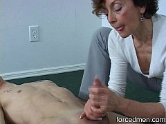 Oldie mistress is able to extract young man's cum