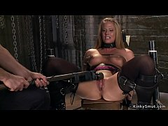 Hot blonde Milf gets pussy vibrated and anal fucked in dungeon