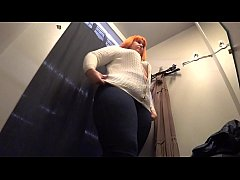 BBW in a public dressing room in the mall, a hidden camera.