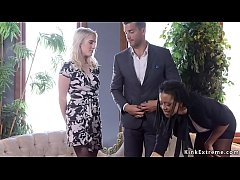 Black journalist Kira Noir interviews couple Cadence Lux and Ramon Nomar and then joins in their threesome bdsm fuck