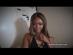 Phat ass black beauty blows cock at casting
