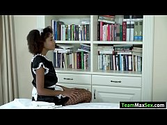 Busty ebony maid Luna Corazon gets a toy on her boss drawer. She puts it on the floor and rides it until her boss caught her. Instead of apologizing he pulls out his dick and lets Luna sucks it. In return he licks Lunas pussy before fucking it.