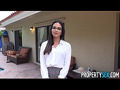Attractive real estate agent wearing glasses with a natural fit body fucks handyman's big cock then lets him cum all over her pretty face