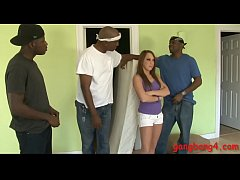 Pretty teen babe Haley Sweet gets her pussy and ass pounded by massive black shafts