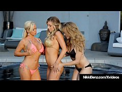 Busty Penthouse Pets Nikki Benz, Samantha Saint & Angela Sommers pleasure their pussies, assholes & big boobs in this hot 3 Way girl girl girl lesbian clip!