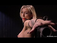 Alt pain slut blonde Kleio Valentien with big tits in fishnets strapped to sitting device bondage and boobs tormented