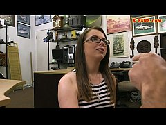 Dirty babe in glasses pawns her twat and fucked by pawn man