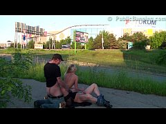 Daring PUBLIC sex threesome with a pretty blond...