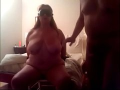 Slut wife totally nude is chairtied, blindolded and gagged