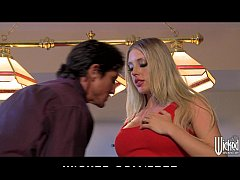 Curvy big-tit blonde Mrs.Saint loses a bet & pa...