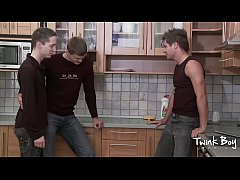 TWINK BOY MEDIA Pissing Twink Kitchen Threesome