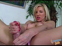 Blonde Ashley Fires jerking off a cock