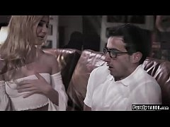 Nerdy guy meets his stunning blonde teen stepsis.Hes receiving mixed signals from her and makes his move.After the first shock she feels sorry for him and decides to help him.She gives him his first blowjob an lets him eat her pussy before riding him