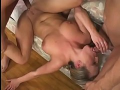 Teen blonde Harmony trys double penetration in first