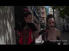 Brunette slave gagged walked in public then group fucked