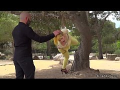 Nerea Falco in yellow tights and see through shirt tied up and hanged on a tree in public park disgraced and ass plugged