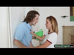 Busty teen stepsis seduces her stepbro to fuck her pussy.She starts throating stepbros cock and they move on the bed and stepbro licks her pussy while shes sucking his cock.After that,stepbro fucks her pussy and cums on her mouth.