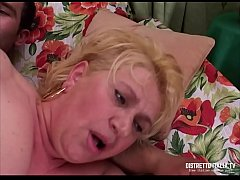 Old fat and slut woman gets fucked and takes cock in the ass by a young boy