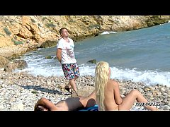 MyFirstPublic Busty gold-digger fucked hard on the beach and must swallow cum