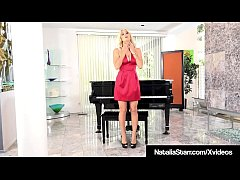 Horny Babe Natalia Starr has an Orgasmic Symphony experience while playing with her Pussy on a Grand Piano in a hot red dress!