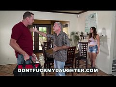 DONTFUCKMYDAUGHTER.COM - Young Whore Fucks The Help Behind Her Daddy's Back!