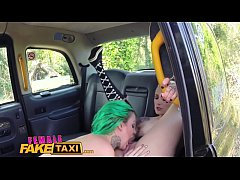 Female Fake Taxi Dildo makes hot lesbian tattooed babe squirt