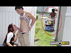BANGBROS - A Homeless Guy Interrupts Our Scene While Belle Sparkles Is Sucking Cock