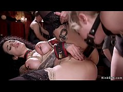 Hot ass blonde lesbian slave with dildo gag made to fuck big tits brunette in bondage then all slaves fucked and sucked in the upper floor