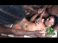 jamaican outdoor threesome with tight lesbians ...