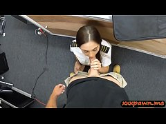 Amateur brunette sucks off and gets fucked by pawn guy in his office