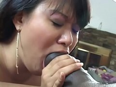 Asian babe gets hard cock in her hairy pussy