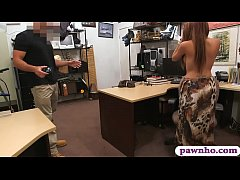 Big boobs woman sucks off and screwed by pawn man after posing nude with her stuff at the pawnshop