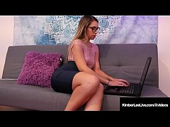 Horny Employee Kimber Lee is over worked & needs to release some stress in her personal office! She hikes up her skirt & whips out her Hitachi wand to vibrate her clit until she cums! Now back to work!