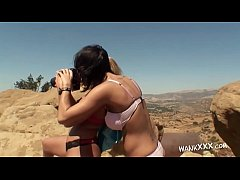 Check out these two amazing babes, one blonde, one brunette, and see how much fun they are having while performing les action outdoors.