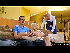 Teen couple seduce mature MILF to engage in a t...