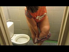 Chubby pissing in a public toilet, dirty overgrown cunt and thick legs in the urine. Amateur fetish.