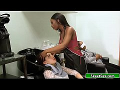 Redhead Sabina gets fucked by her lesbian hairdresser