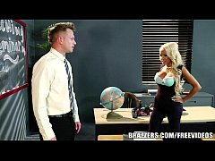 Big tit blonde teacher gets taught a lesson in ...