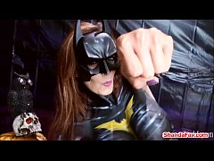 Batgirl in Latex?!  Canada's dirtiest MILF gets a skin tight latex bodysuit on as Batgirl who finger fucks her man in the ass until he explodes. Meet Shanda live most Saturdays at ShandaFay.com!