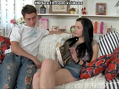Young student teen fucked on couch