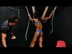 Black slave Harmonys ebony spanking and tied up whipping on bondage cross of dar