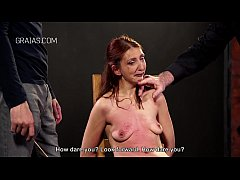 Redhead slave punished by two guys