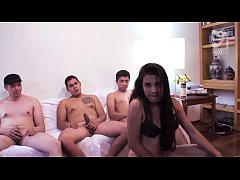 Mexican casting gang bang Mirandita cover her face with cum!