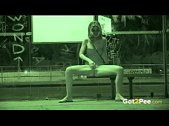 Pee Desperation - Cute babe pisses in a bus stop