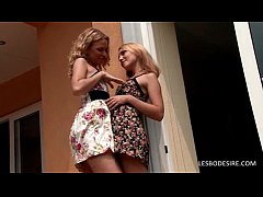 Sexy lesbians make out on terrace
