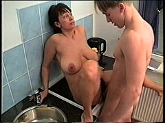 Big tits mature with young boy