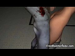 3D cartoon redhead gets fucked hard by a zombie