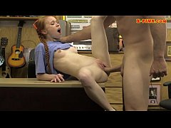 Skinny redhead pawns her twat and fucked