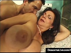 Brunette Milf Deauxma stuffs her asshole with a sex toy &  then welcomes a big hard dick inside her tight mature anus with some great Titty Fucking!