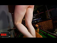 Young Red head girl fucked hard in a bar by big cock